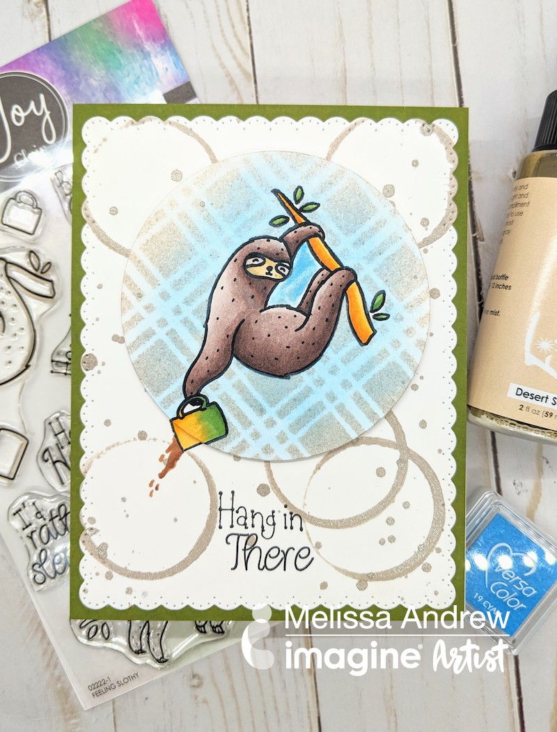 I create a fun card using Fireworks Sprays with a stencil to create a fun background for this adorable sloth from Joy Clair Stamps. Join me for a masking technique cardmaking tutorial