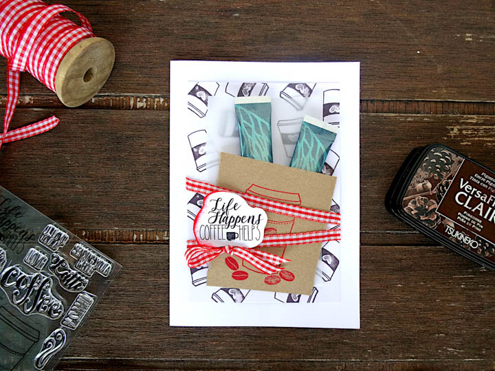 StazOn Pigment Ink to Create a Coffee Card Gift Combo