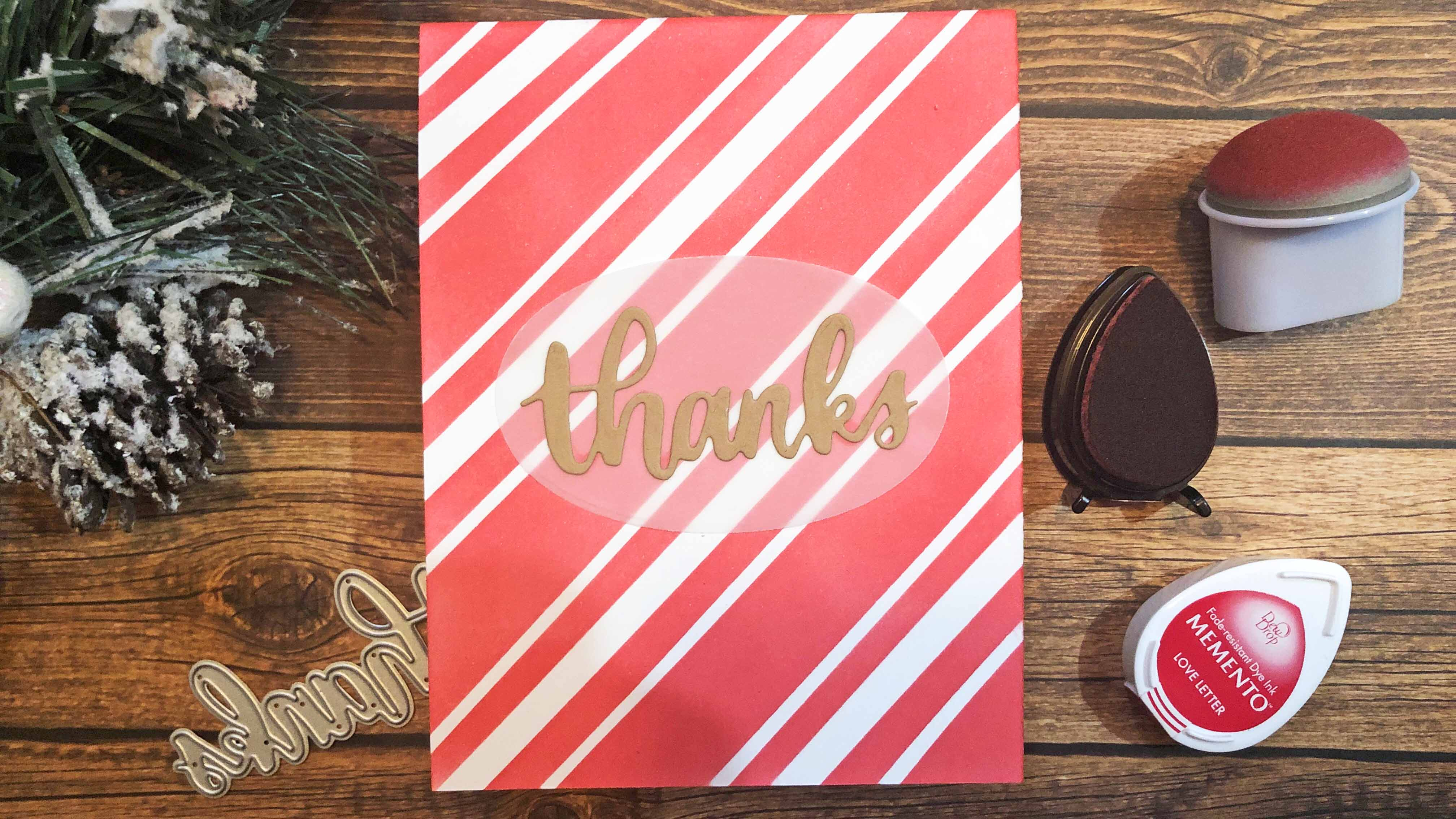 Simple Candy Cane Backgrounds with Memento Ink