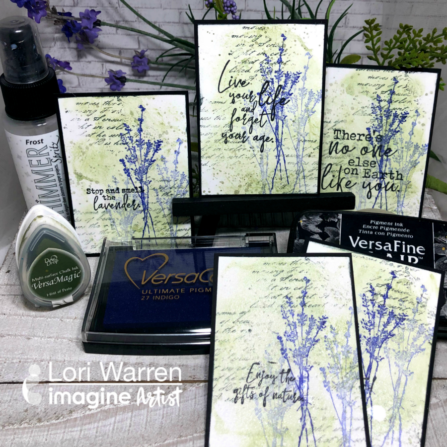 Create Inspiring ATCs using a Quick Watercolor Background Technique with versacolor and versamagic