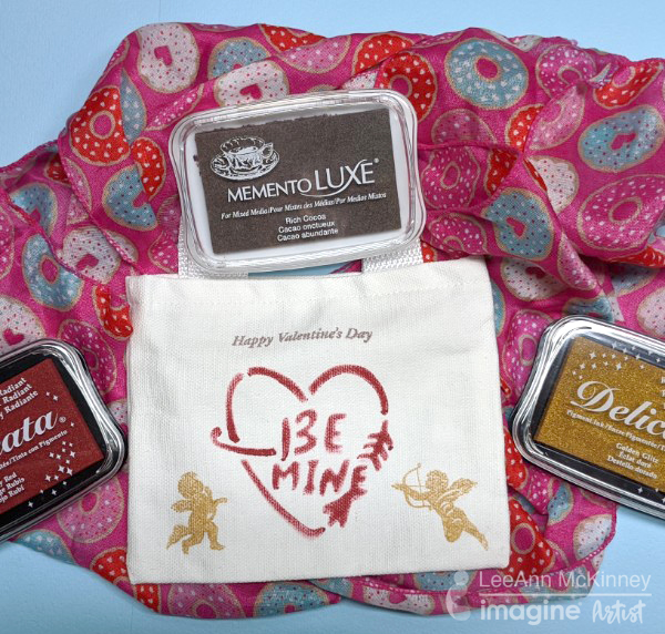 Stamp on fabric with Memento Luxe and Delicata. Valentine's Day Crafts