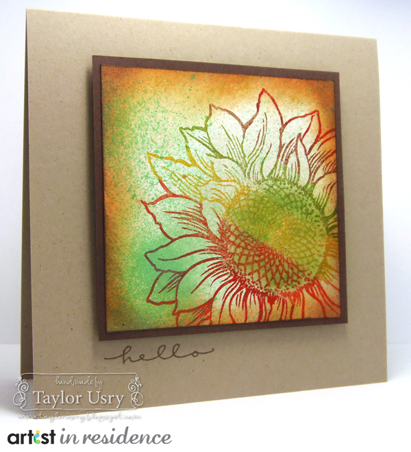 Fireworks Shimmery Craft Spray for a Sunflower Fall Colors Card