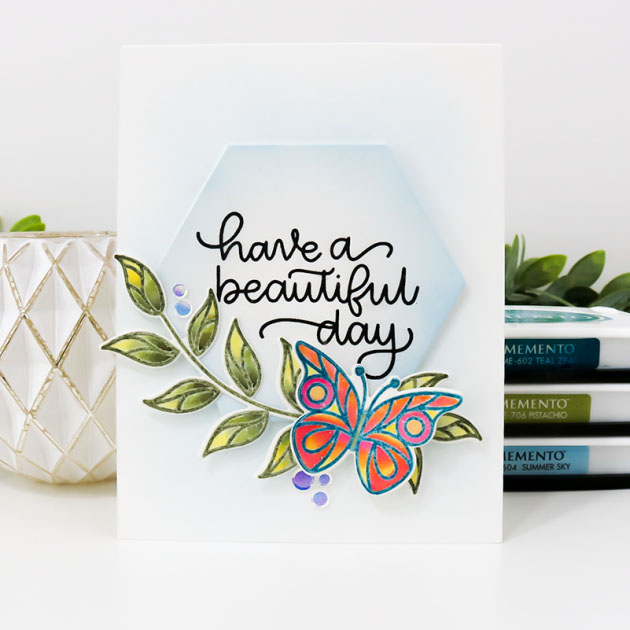 Clean and Simple Handmade Card with Memento Dye Inks