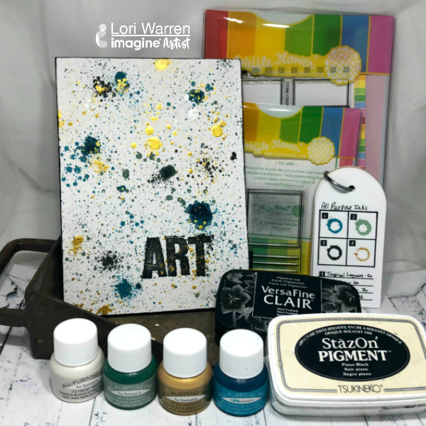 Creating an Artsy book cover is easy with All-Purpose Ink and Ink Droppers. This project will walk you through the step by step process of creating a unique background paired with a large word stamped (with StazOn Pigment Ink) as a focal point.