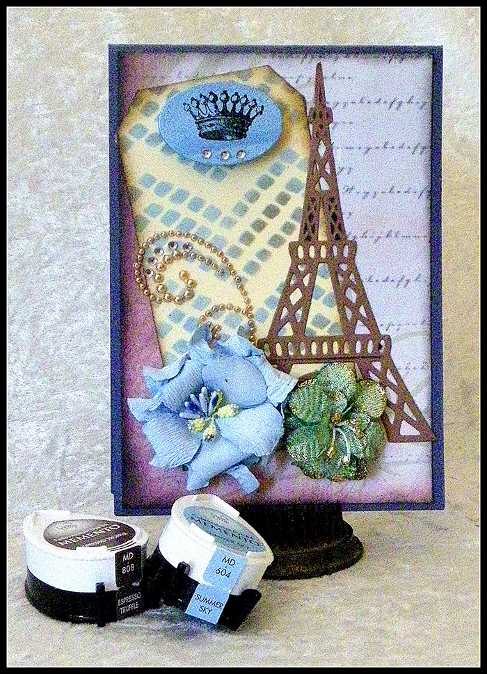 Eiffel Tower Card Made with Memento DewDrops