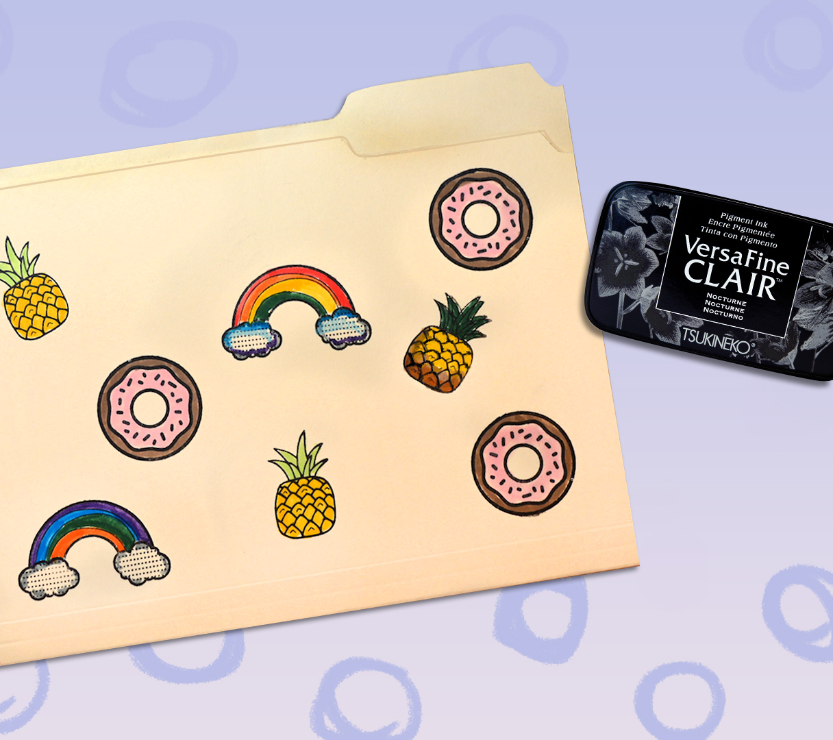 Quick and Easy Projects: Stamp and Color Rainbows, Pineapples and Donuts on a School Folder