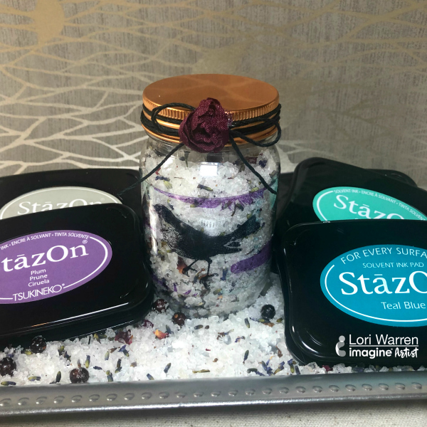 Customize Window Cling Vinyl for a Mason Jar with StazOn ink pad stamping stamp