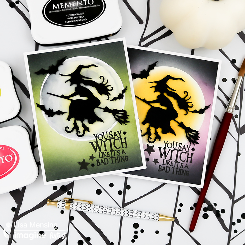 flying witch card ink blended memento ink halloween greeting you say witch like it is a bad thing