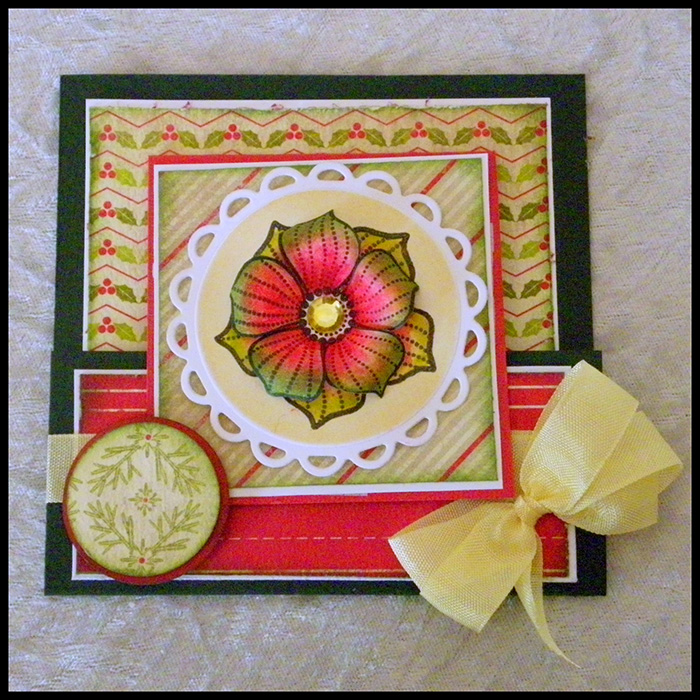 Floral themed handmade christmas card.