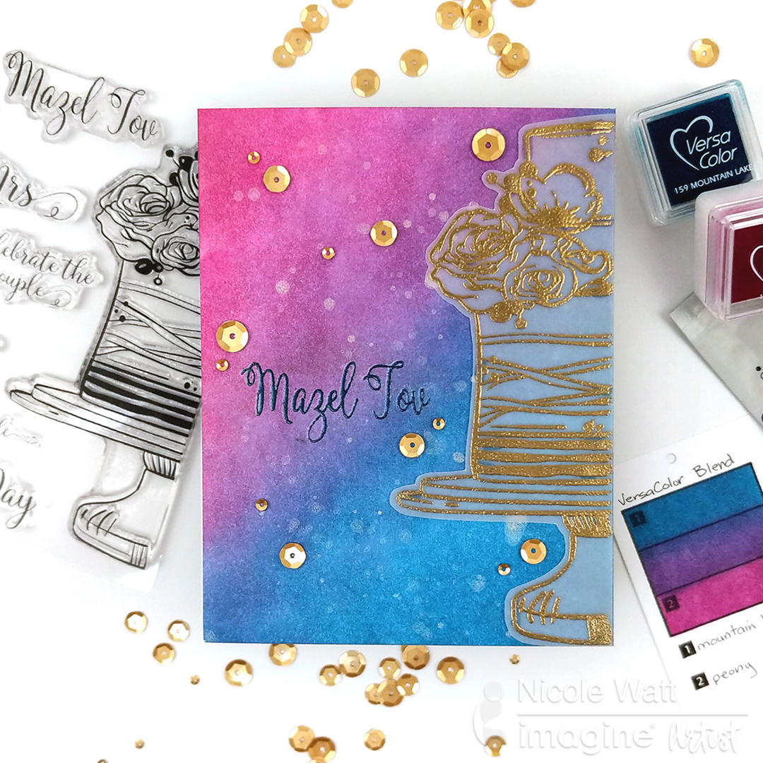 In this cardmaking tutorial, Nicole shares one of her favorite fall color combos using VersaColor inks. Nicole swatches out jewel-tone colors in dark pink with a rich true blue mixed in with a light warm splatter with Delicata. Pigment inks are a perfect
