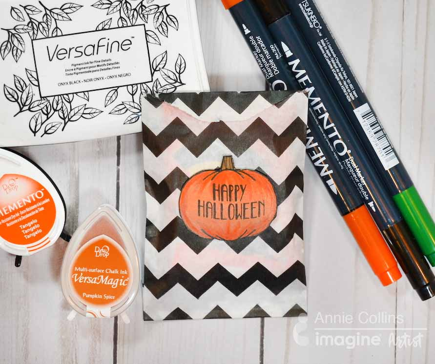 How To Make A Halloween Goodie Bag - orange ink pad, black chevron background
