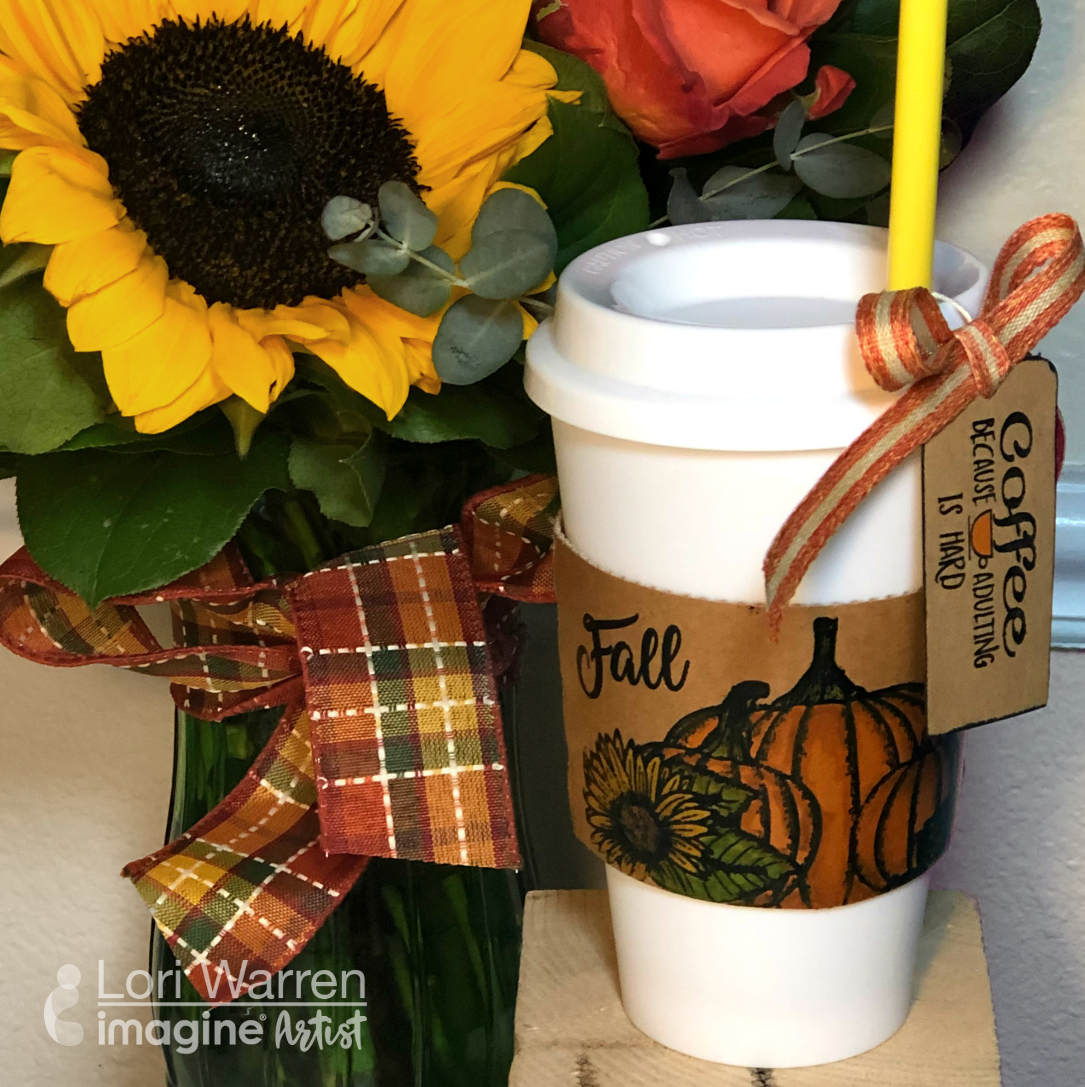 Coffee Cup Crafts - Hand Decorate Autumnal Pumpkins - Because Adulting is Hard!