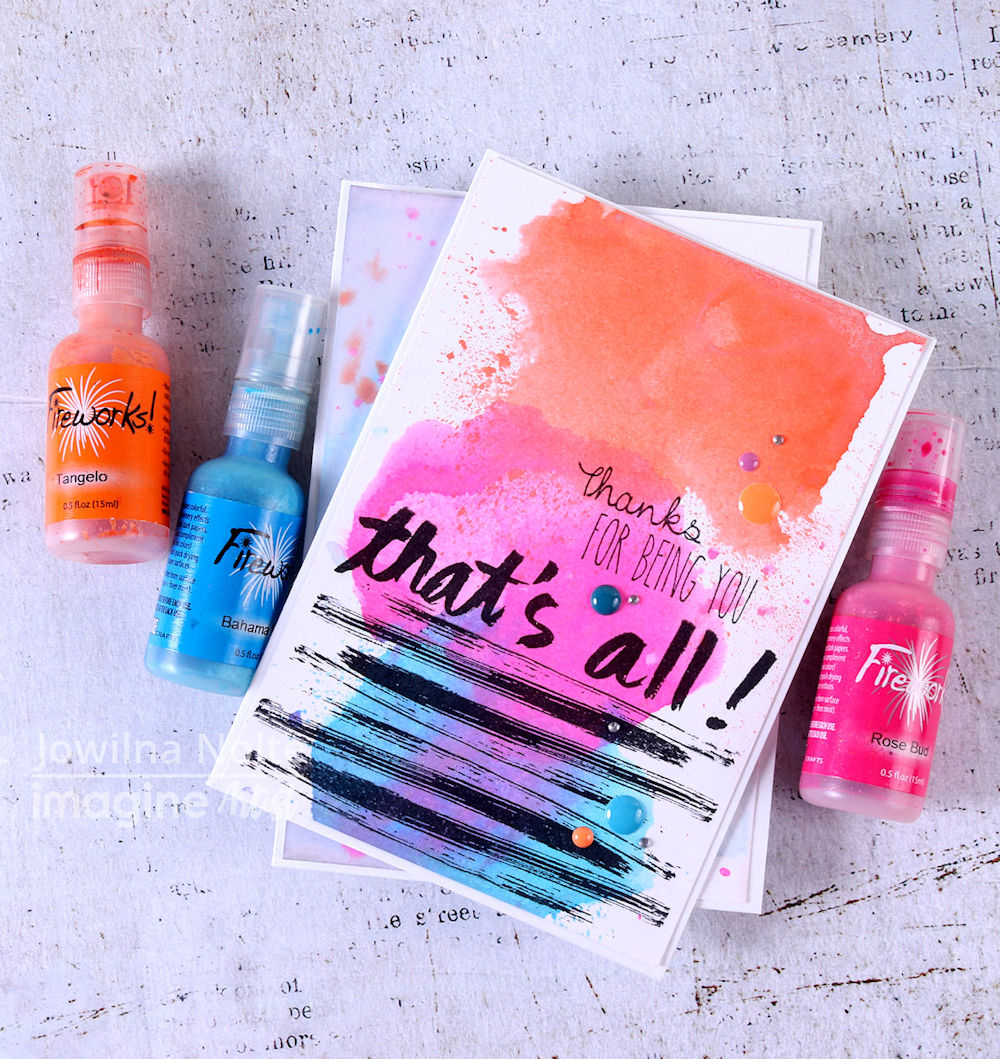 Today, I am sharing two quick ways of using your Fireworks Shimmery Craft Sprays to create fun and vibrant backgrounds. These spray inks can be used on cards or even in your art journals, decorative tags, and more.