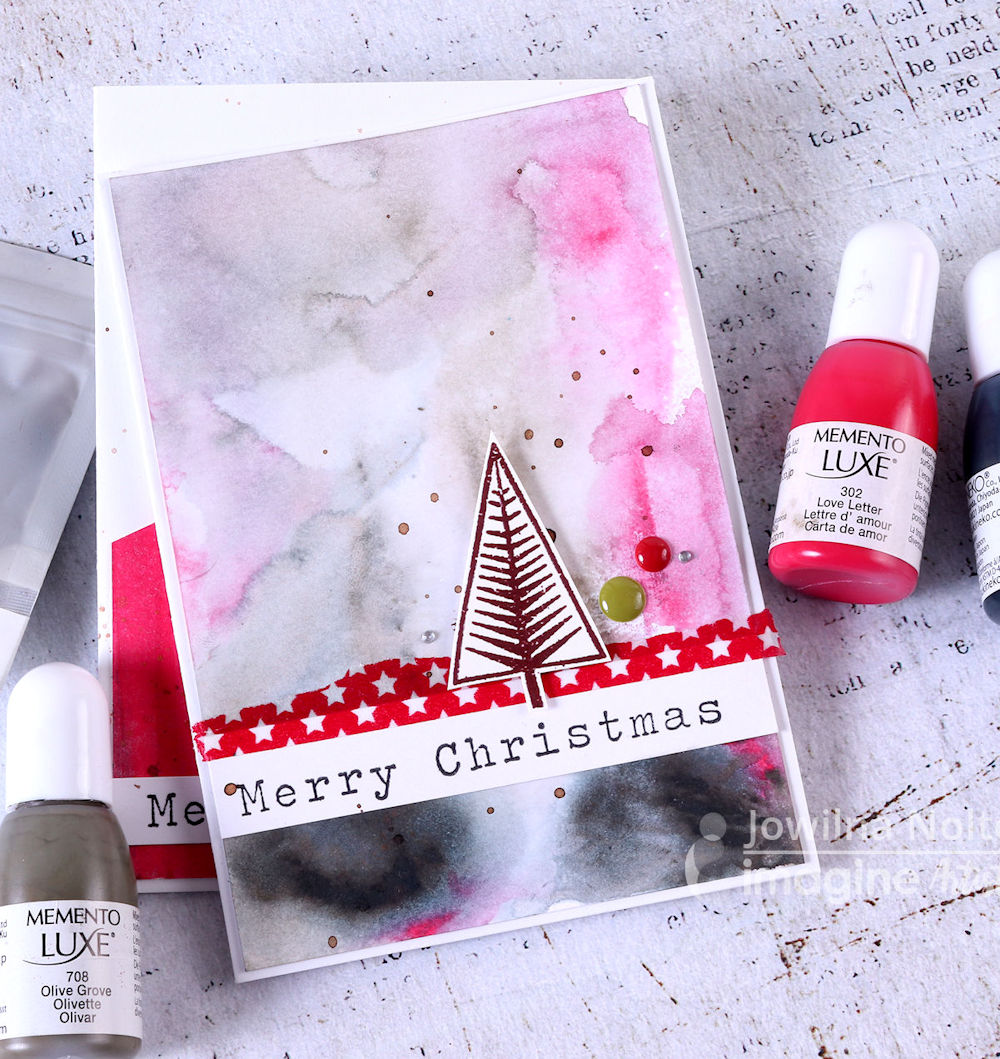 Create Modern christmas cards with Memento Luxe inkers.