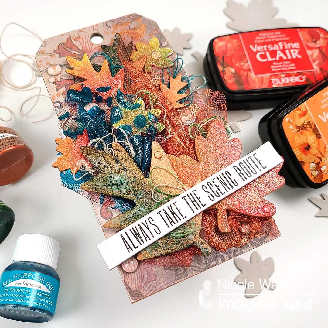 fall leaves mixed media gift tag